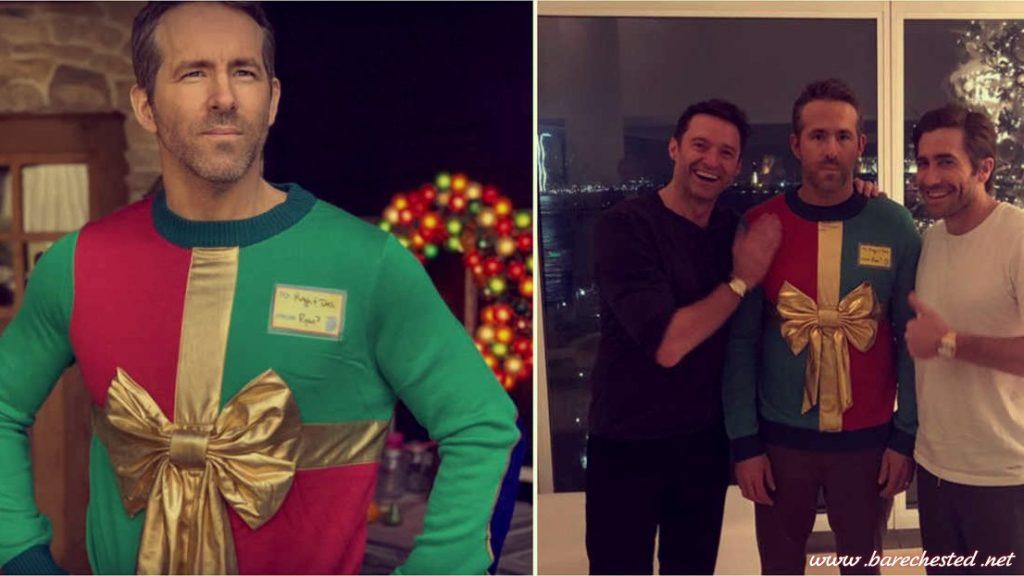 Barechested Ryan Reynolds Festive Sweater