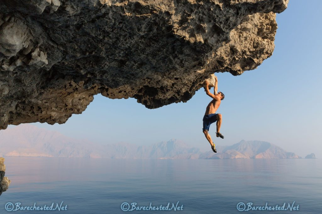 Barechested Free Solo Climbing