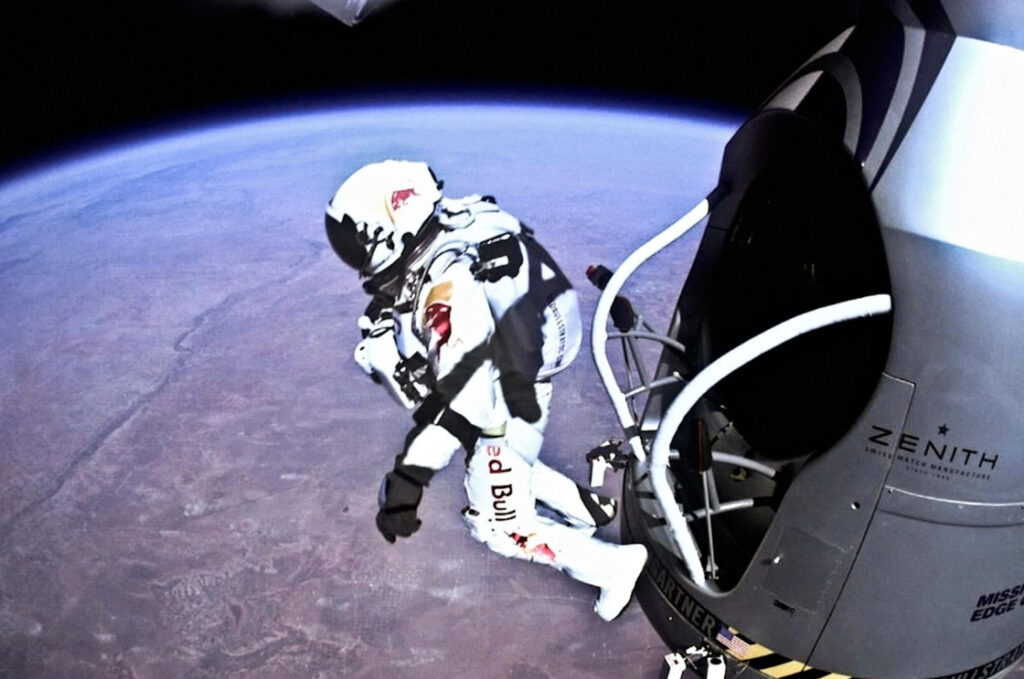 Barechested Felix Baumgartner Space Dive