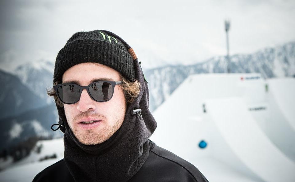 Barechested Christian Haller's Snowboarding World Record