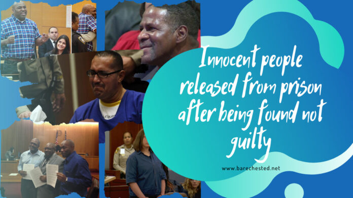 Barechested Innocent people released from prison after being found not guilty