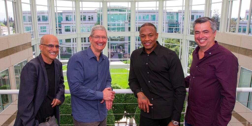Barechested Apple CEO Tim cook took notice of the success and popularity of beats by dre.